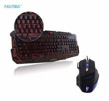 FASTDISK English Russian Gaming Full Keyboard USB Wired Backlight LED Red/Purple/Blue crack Music control with 7 Button Mouse