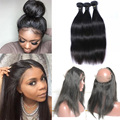 7A 360 Lace Frontal With Bundles Peruvian Virgin Hair Straight Human Hair Bundles With Closure 3 Bundles With 360 Lace Frontal