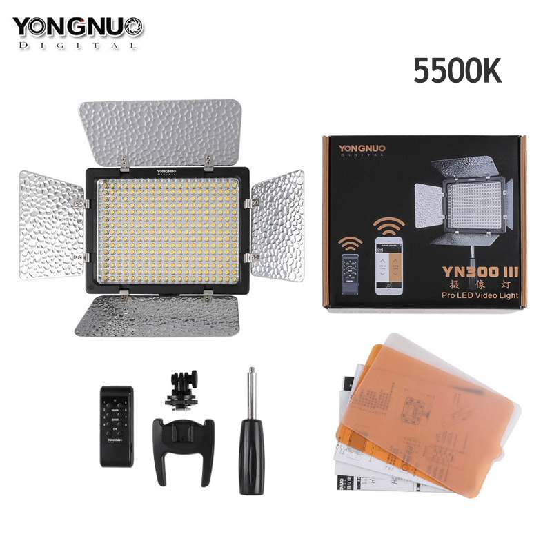 Yongnuo YN300 III YN300lII LED Video Light 5500K CRI95 with Remote Control,Support AC Power Adapter & APP Remote for Wedding 2pcs yongnuo yn300 iii yn300iii yn 300 iii cri95 3200k 5500k led video light with barndoor photographic led panel lamp for dslr