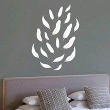 DIY White Feather Pattern Wall Sticker Bedroom Wall Decorations Party Decor For Any Shape 18101808(China)