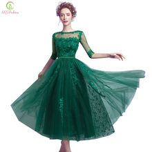 SSYFashion New Evening Dress Bride Banquet Elegant Green Lace Half Sleeve Tea-length Appliques Sequined Formal Party Gown Custom(China)