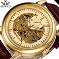 SEWOR Men Skeleton Automatic Mechanical Watch Gold Transparent Leather Male Clock Business Fashion Watches Relogio Masculino