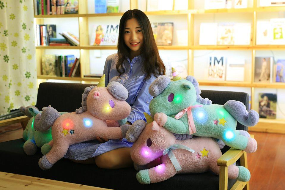 Big Luminous Pillow 55CM Unicorn Led Light Green Pink Unicorn Horse Plush Stuffed Animals Toys Girl Toy Birthday Christmas Gift