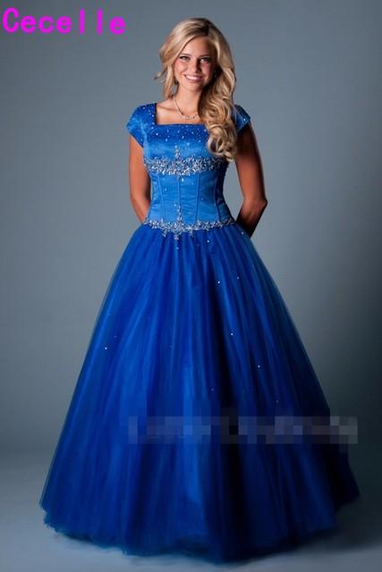 Hoàng gia Blue Ball Gown Dài Modest Prom Dresses Với Cap Tay Áo Đính Cườm Crystals Tầng Chiều Dài Cô Gái Thanh Thiếu Niên Trang Phục Chính Thức Prom Đảng gowns