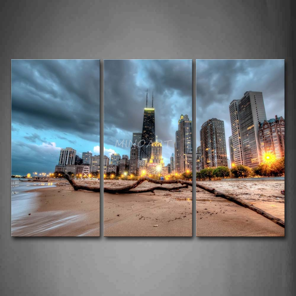 Attirant 3 Piece Wall Art Painting Chicago Trunk On Beach Near Modern Buildings  Picture Print On Canvas City 4 The Picture In Painting U0026 Calligraphy From  Home ...