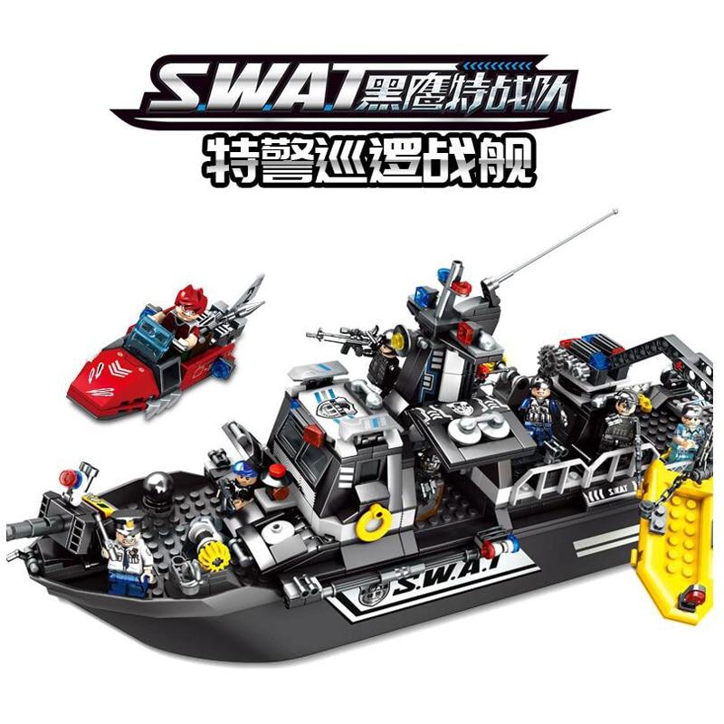 864pcs Children s building blocks toy Compatible city Black Hawk Special Warfare Special Police Patrol Battleship