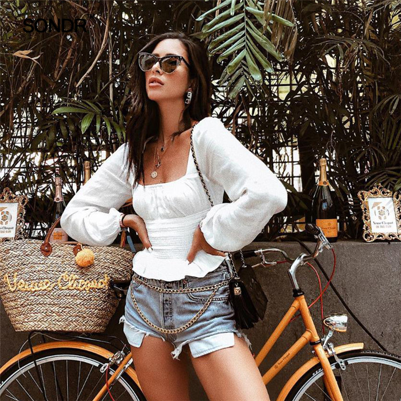 SONDR Ruffle Square Neck Long Sleeve Sexy White Woman Fashion 2019 Summer Vintage Shirts Female Boho Tops