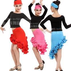 3 шт. Обувь для девочек Костюмы для латиноамериканских танцев Salsa Танцы платье детский праздничный костюм Костюмы для бальных танцев