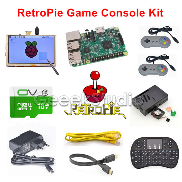 US $159 99 |Raspberry Pi 3 Model B 16GB RetroPie Game Console Kit with 2pcs  SNES Controllers Gamepads & 5 inch 800*480 Touch Screen-in LCD Monitors
