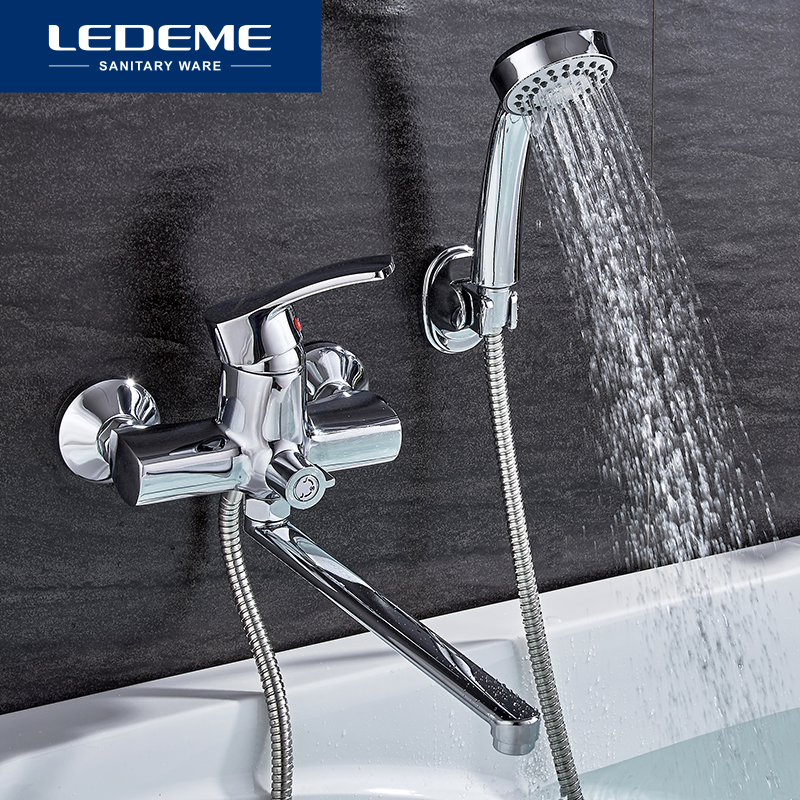LEDEME Modern Bathtub Faucets Wall Mounted Cold And Hot Water Mixer Tap Outlet Pipe Single Holder Bathroom Faucet Set L2264