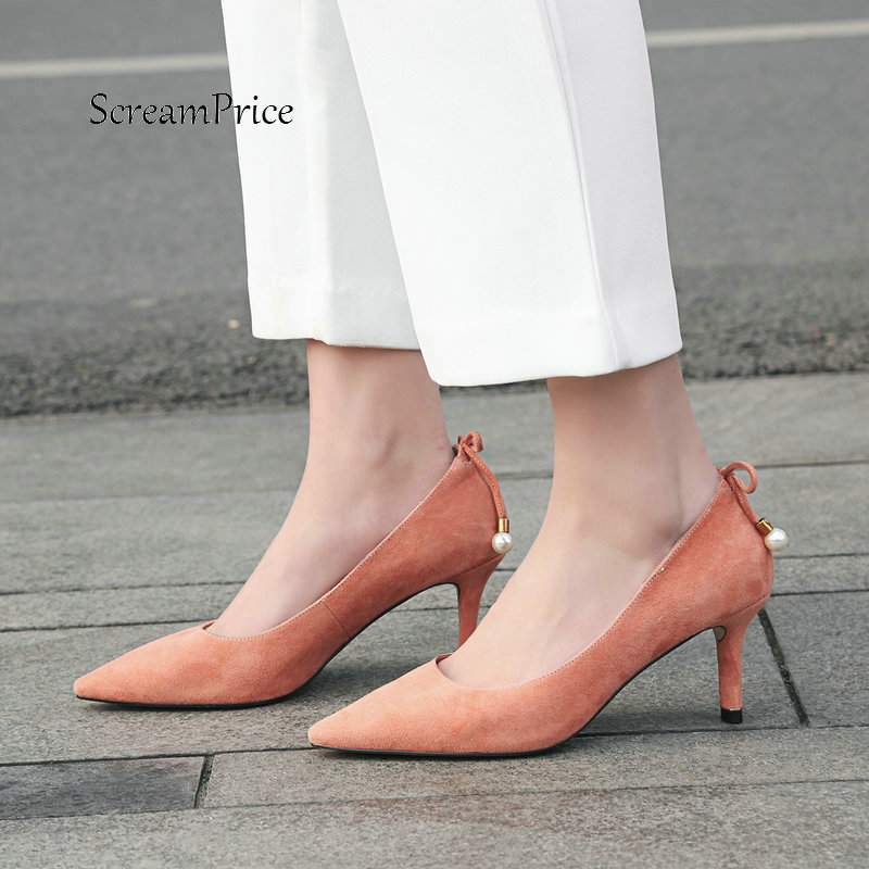 цена Women Suede Back Bow Knot Slip On Lazy Shoes Fashion Pointed Toe Dress Sexy Thin High Heel Pumps Black Pink Khaki в интернет-магазинах