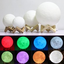 3D Print Moon Lamp USB Rechargeable Lunar Lamp Touch/Remote Led Nightlight for Chlidren Kids Bedroom Night Lighting Home Decor