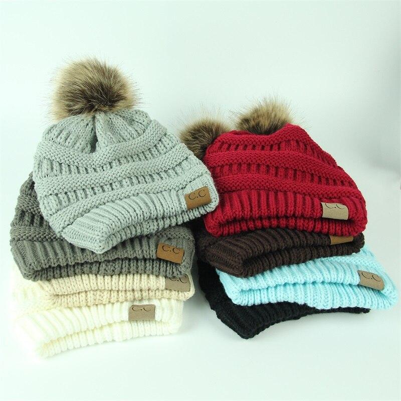 83e10a5d3d1 Winter Brand Female Ball Cap Pom Poms Winter Hat For Women Girl  S Hat CC  Knitted Beanies Cap Hat Thick Women S Skullies Beanies