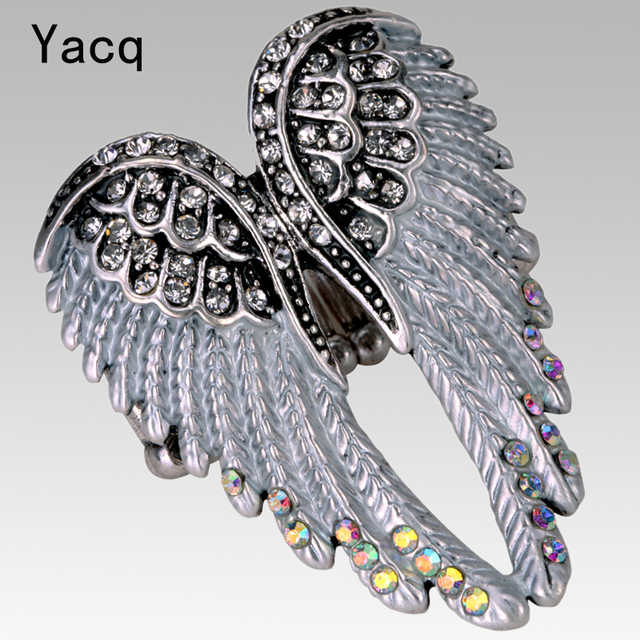 YACQ Angel Wings Stretch Ring Women Biker Bling Jewelry Gifts for Her Antique Gold Silver Plated Crystal Wholesale Dropshipping