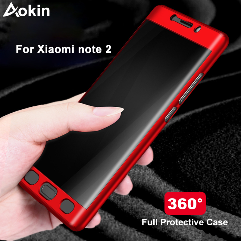Aokin For Xiaomi Mi Note 2 Case Luxury Ultra Thin Matte PC 360 Full Cover for Xiaomi Note2 Mobile Phone Case with Tempered Glass(China)