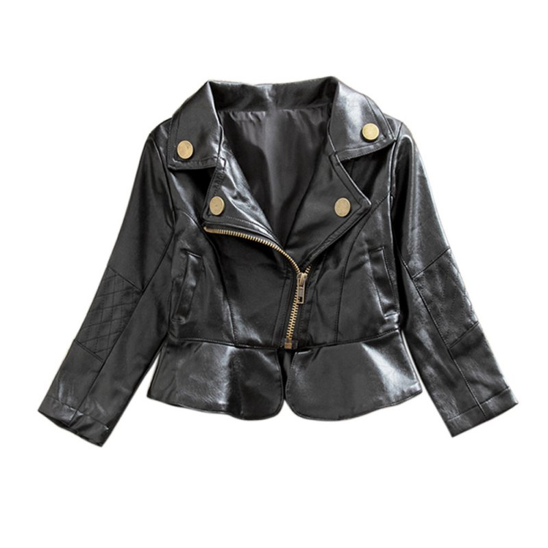 Fashion 2-6Y Baby Girls Autumn and Winter PU Leather Jacket Kids Warm Coat Girls Outerwear