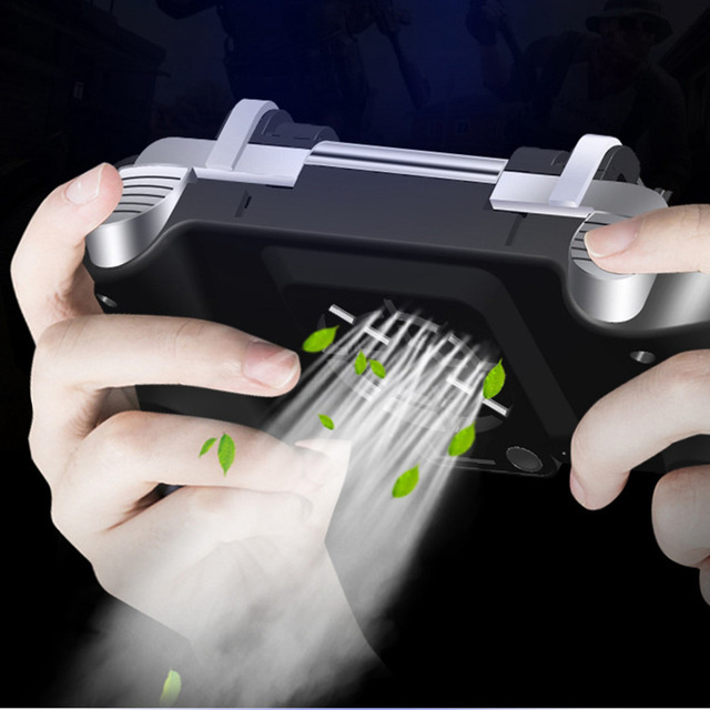 Mobile Phone Game Gamepad Joystick l1r1 shooter controller Cooler Fan Holder Handle Grip Gamepad for Apple Android pubg games