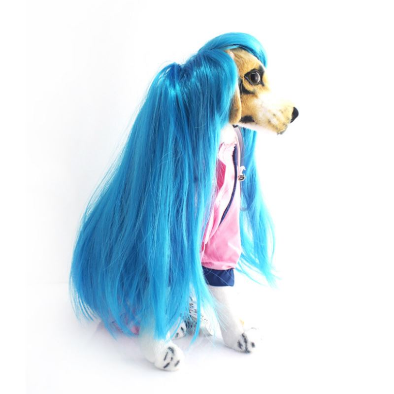 Новые длинные волнистые парик/Искусственные парики воротник Косплэй партии собака кошка синие волосы платье Mascotas Cachorro Chien Перро p0.2