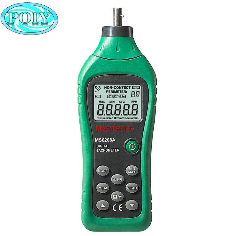 MASTECH MS6208A LCD Display Contact type Digital Tachometer RPM Meter with Backlit and Rotation Spe