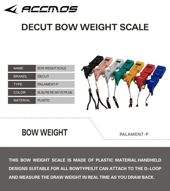 7 color Decut Palament p Bow Weight Scale Durable and Sturdy Plastic Digital Bow Scale Hang
