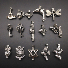 15pcs Vintage Silver Mix Shape Bird Fish Key Alloy Beads Cage Pendant Aroma Essential Oil Diffuser