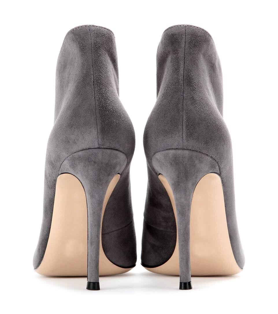 Tout Nouveau Haute Gris Suede Bottes Bout Faux Printemps Talon Cheville noir À 2018 Silhouette Chaussures Femmes En Sexy Ouvert Courbes Style FPqwxw1