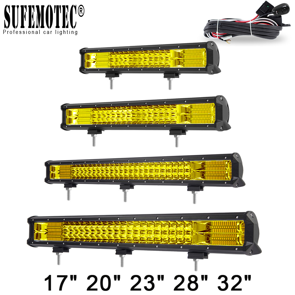 20 Inch Yellow Led 4x4 Offroad Light Bar For Off Road 4WD Trucks SUV ATV Trailer Combo Beams Amber Work Driving Lights Fog Lamp
