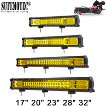 20 Inch Yellow Led 4x4 Offroad Light Bar For Off road 4WD Trucks SUV ATV Trailer Combo Beams Amber Work Driving Lights Fog Lamp стоимость