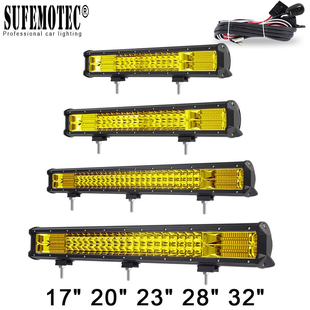 20 インチの黄色の Led 4 × 4 オフロードオフロード用 4WD トラック、 Suv ATV トレーラーコンボビームアンバーワークライトフォグランプ  グループ上の 自動車 &バイク からの ライトバー/ワークライト の中 1