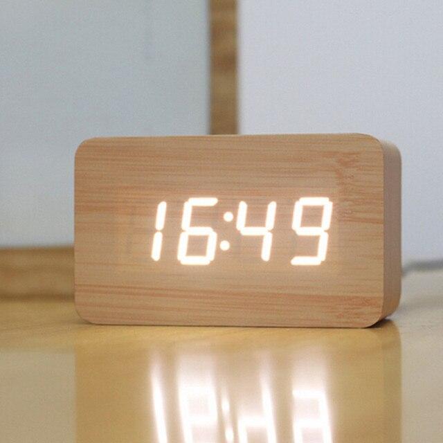 Creative Design Led Display Light Alarm Wood Clock Gadgets Cool Despertador Digital