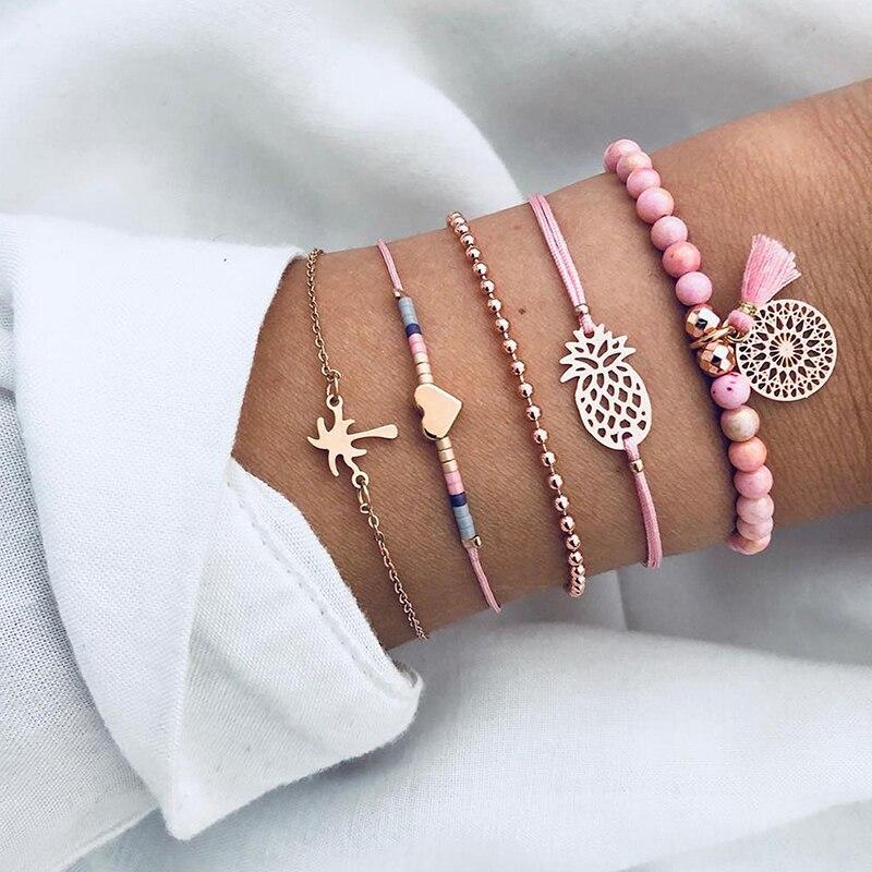 Chain & Link Bracelets Jewelry & Accessories 5 Pcs/set Boho Pineapple Heart Coconut Tree Multilayer Bracelets For Women Pink Stone Hollow Pendant Tassel Bangle Cuff Jewelry Convenience Goods