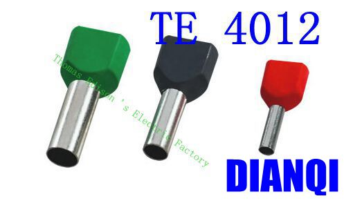 TE4012 Two Pre-insulated Pipe-shaped End Cold pressed terminals/Cable Connector/Wire Connector 1000PCS/Pack wholesal e1008 insulated cable cord end bootlace ferrule terminals tubular wire connector for 1 0mm2 wire 1000pcs