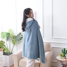 New Hooded Wearable Thickened Flannel Blanket Double Lamb Sofa Cover Office Cloak Shawl Throw Sweatshirt