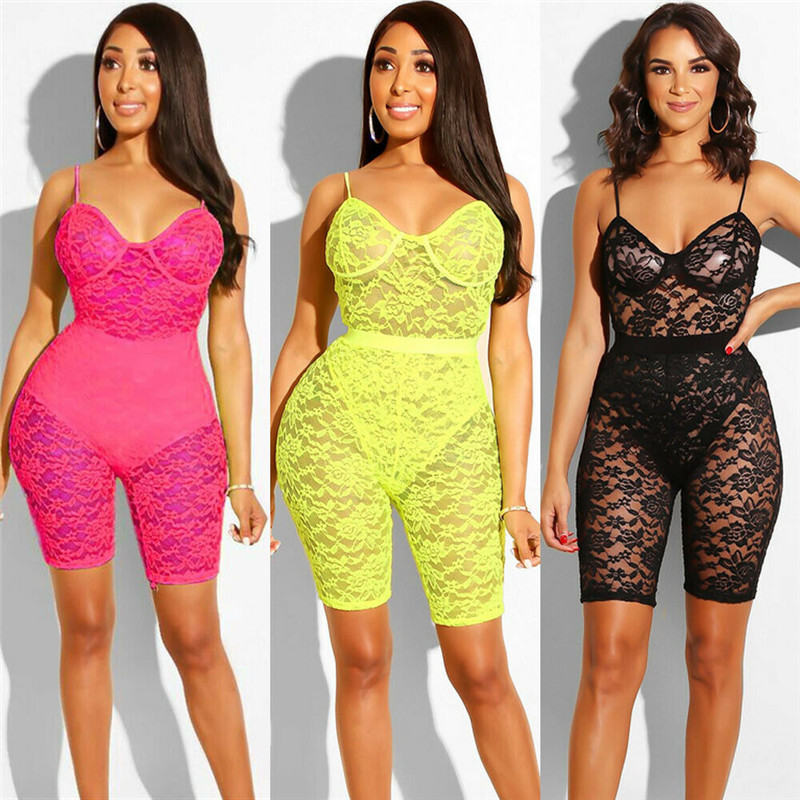 Sexy Women Lace V-neck Strap Bodycon Clubwear Playsuit High Waist See Through Party Nightwear Romper Lingerie Jumpsuit One-piece
