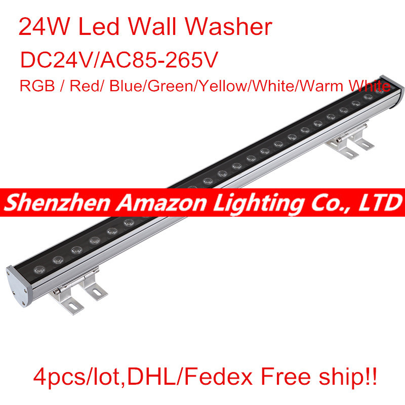24W Led Wall Washer Lights AC100-265V IP65 Waterproof CE&RoHS RGB / Red/ Blue/Green/Yellow/White/Warm White tl19d24x1w 24w led driver white blue 85 265v