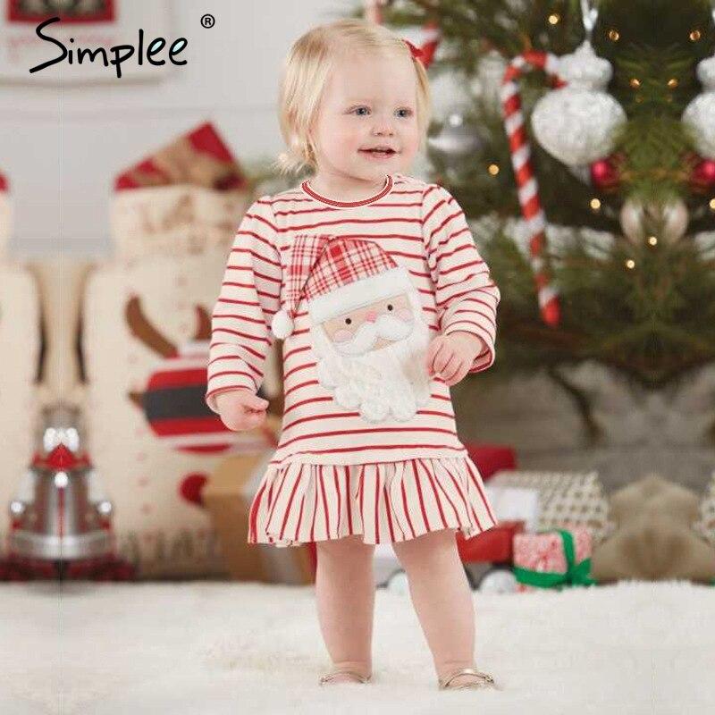 Baby mädchen Weihnachten kleider für mädchen kleid Deer streifen elch lange ärmeln kleid Geburtstag Weihnachten Santa Claus kostüme