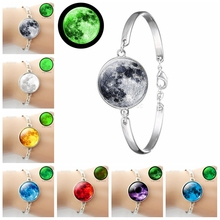 Luminous Full Moon Bracelet Glow In The Dark Full Moon Glass Cabochon Silver Plated Charm Bracelet Handmade Jewelry for Women charm moon xy00688