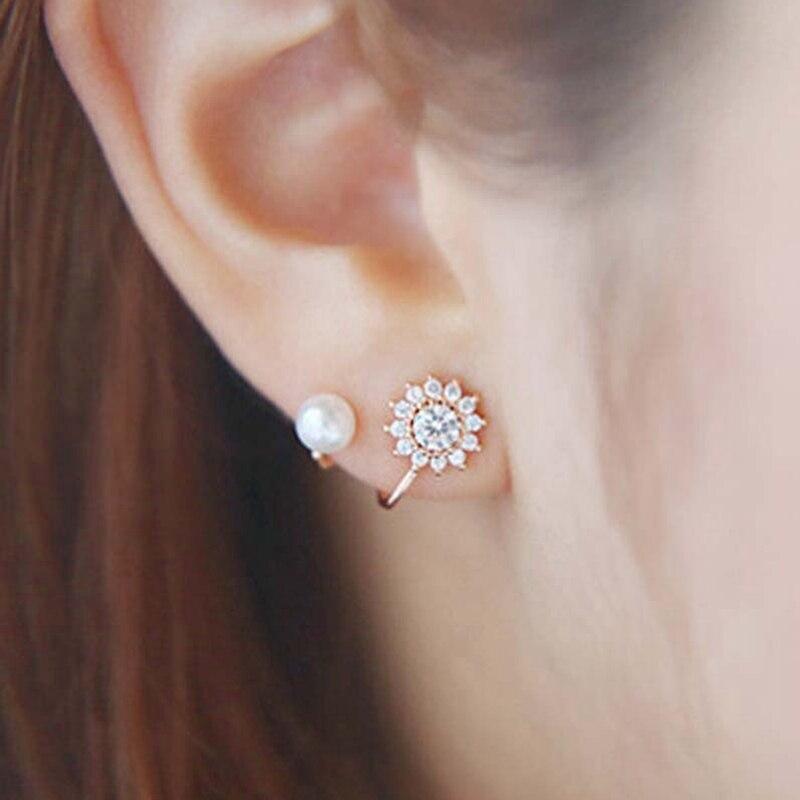 MJARTORIA 2018 Sweet Pearl Stud Earrings Jewelry Women Gold Sliver Boho Fashion Snowflake Girls Earring Wedding Party Jewelry