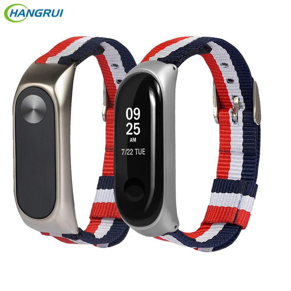 HANGRUI Replacement Canvas Nylon Strap For Xiaomi Mi Band 3 2 4 Wrist Strap Bracelet Miband 2 Smart Wristband Accessorie 6 Color