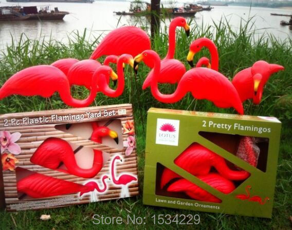 one pairs red plastic lawn flamingos for garden decor garden ...
