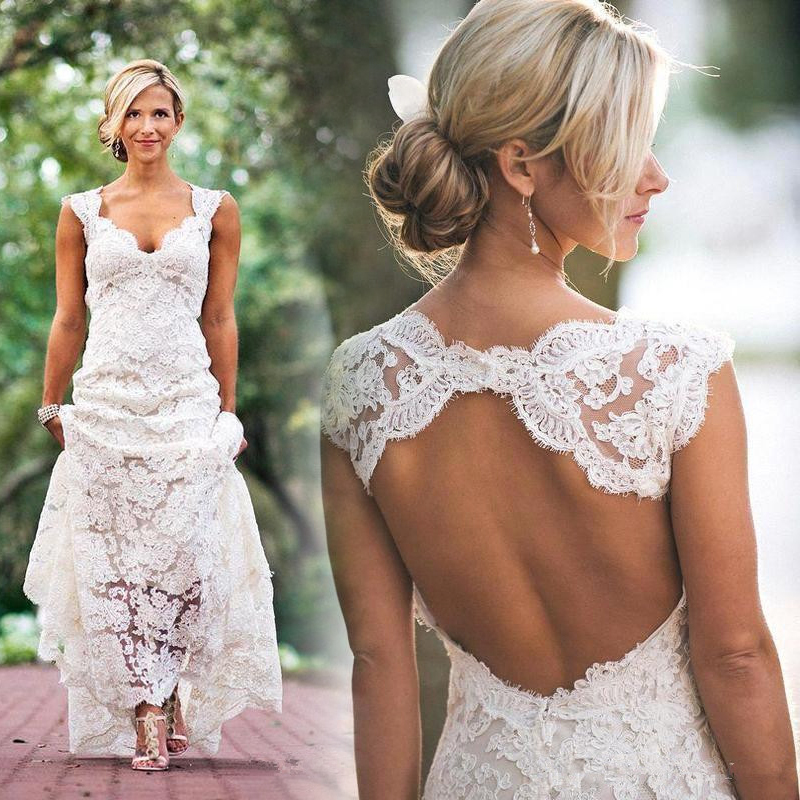 Cheap Vintage Mermaid Lace Wedding Dresses Sweetheart Cap Sleeves Open Back 2017 Fall Winter Court Train