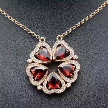 Natural red garnet stone Necklace natural gemstone Pendant Necklace S925 silver Two  wear Fashion Romantic heart women Jewelry
