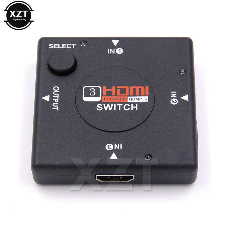 1 pcs 1080 P Mini 3 Pelabuhan HDMI Switcher Beralih Splitter HDMI 3 input 1 Output Box Selector untuk HDTV Vedio Selector terbaru