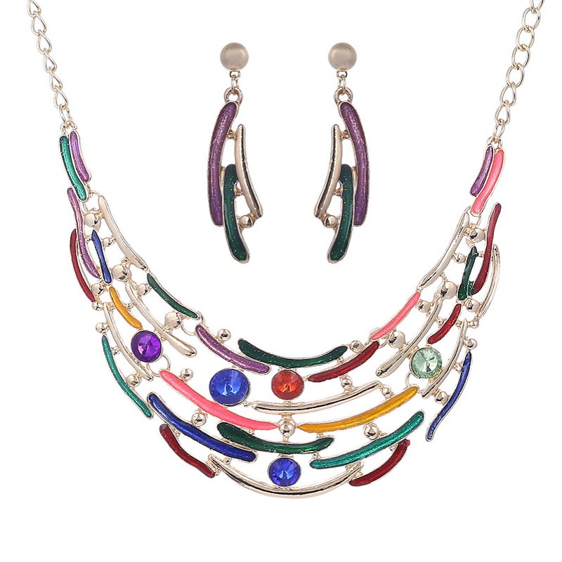 Fashion enamel jewelry crystal gold jewelry set multi layer necklace and earrings for women moon nickel