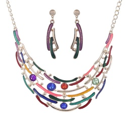 Fashion enamel jewelry crystal gold jewelry set multi layer necklace and earrings for women moon nickel.jpg 250x250