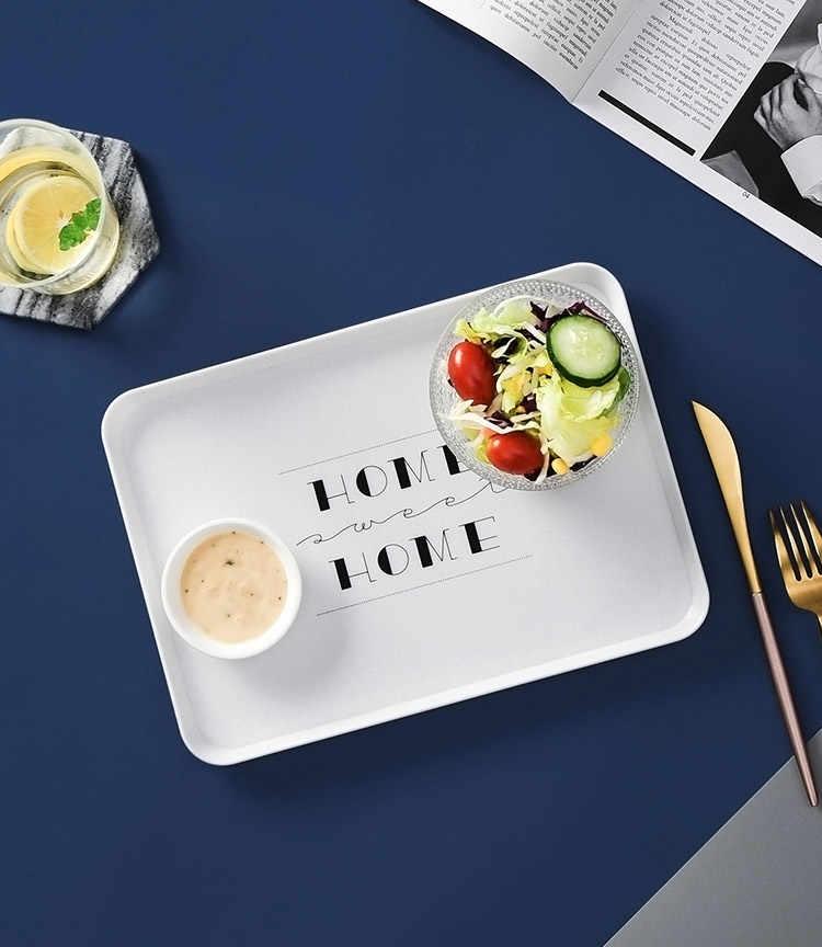 Nordic Style Melamine Dessert Melayani Nampan Kue Teh Sarapan Roti Nampan Piring Makanan Ringan Penyimpanan Nampan Persegi Panjang