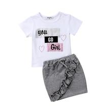 цена на Summer Toddler Kids Baby Girls Cotton Tops Short Sleeve T-shirt Ruffle High Waist Mini Skirt Outfits Clothes Set 2019
