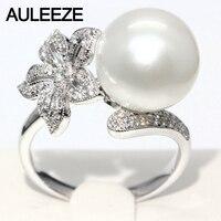 Цветочный Дизайн кольцо с бриллиантом 11 мм Натуральная морская вода жемчужина кольцо 18 К белого золота Обручение Свадебные Кольца для Для ж