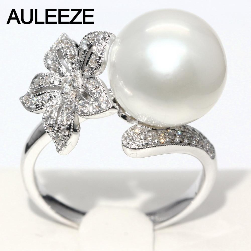 Floral Design Real Diamond Ring 11mm Natural Seawater Pearl Ring