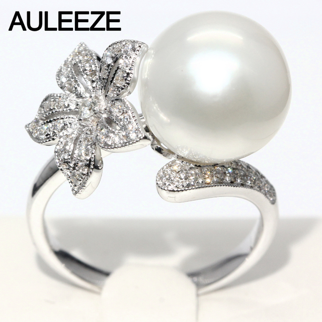 Fl Design Real Diamond Ring 11mm Natural Seawater Pearl 18k White Gold Engagement Wedding Rings